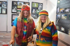 A colourful couple of characters ready to man the Komondor stand at Discover Dogs